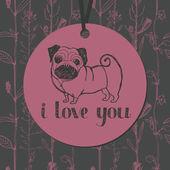 可爱的八哥犬和花背景 — 图库矢量图片