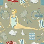 Summer beach seamless background — Stock Vector
