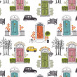 Pattern with colored doors — Vector de stock #25603939