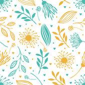 Blauwe en gele abstract floral achtergrond — Stockvector