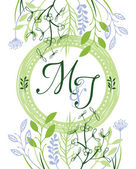M&J green wedding invitation — Vector de stock