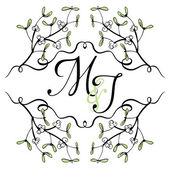 Mistletoe wedding invitation — Stock Vector
