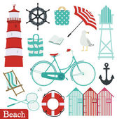 Beach holiday set — Stock Vector