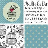 Mano dibujo alfabeto y aves — Vector de stock