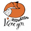 I love you. Card with the fox — Stock Vector