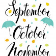 September, October, November — Stock Vector