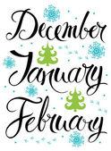 December, January, February — Stock Vector