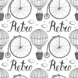 Vintage hot air balloon and bicycle pattern — Stock Vector