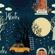 Stock Vector: Winter trees, doors, cars and bright moon on blue background