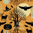 Stock Vector: Happy Halloween, pumpkins, bats and cats. Black trees and a bright moon on a yellow background
