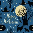 Stock Vector: Happy Halloween, pumpkins, bats and cats. Black trees and a bright moon on a blue background