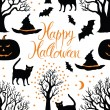 Stock Vector: Happy Halloween, pumpkins, cats and bats. Black trees on a dark background