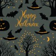 Stock Vector: Happy Halloween, pumpkins and bats. Black trees on a dark background