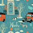 Dogs, vintage cars, snow and winter trees. Seamless background — Stock Vector