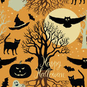 Happy Halloween, pumpkins, bats and cats. Black trees and a bright moon on a yellow background — Stock Vector