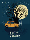 Winter tree, car, cat and a bright moon card — Stock Vector