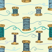 Retro wooden reels of thread. Threads in blue colors — Stock Vector