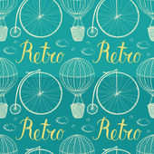 Vintage hot air balloon and bicycle. Blue background — Stock Vector