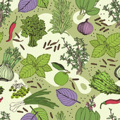 Herbs and spice seamless pattern — Stock Vector