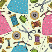 Dresses for little girls. Tools for sewing — Stock Vector