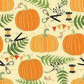 Festive decoration, pumpkins and ferns — Stock Vector