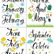 Spring, Autumn, Winter, Summer. Month of the year. Calligraphy — Stock Vector