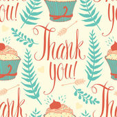 Thank you background with cupcake, calligraphy and ferns — Stock Vector