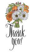 Merci carte bouquet. calligraphie et dessin de la main — Vecteur