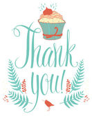 Thank you card with cupcake. Calligraphy and hand drawing — Stock Vector