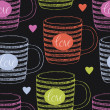 Vector de stock : Cup with love and hearts seamless background