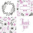 Round frame of flowers, pattern and thank you card — Stock Vector