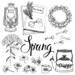 Vintage household objects and flowers, spring theme. Hand drawin — Vecteur