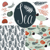 Backgrounds with gulls and ferns. Sea set — Stock Vector