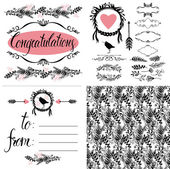 Card with calligraphic lettering To From. Pattern and details — Stock Vector