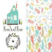 Home sweet home, floral fern patterns and round frame — Stock Vector