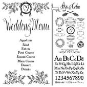 Wedding menu, font set and design elements set — Stock Vector
