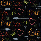 I love you dark background with hearts and arrows — Vetorial Stock