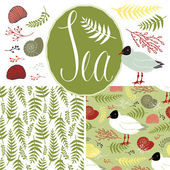 Backgrounds with gulls, shells and ferns. Sea set — Stock Vector