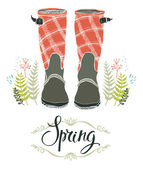 Rain boots and spring forest grass, design card — Stock Vector