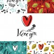I love you set with backgrounds and cards — Stock Vector