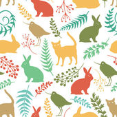 Happy Easter background with rabbits, birds and cats — Stock vektor