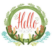 Hello postcards with green circular frame, antlers and flowers a — Stock Vector