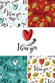 I love you set with backgrounds and cards — Stok Vektör