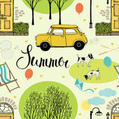 Summer street with trees, doors, cars and dogs — Stock Vector