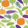 Fresh vegetables seamless background, pumpkins, peas, artichokes — Stock Vector