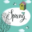 Spring card with birds and bird houses, blue background — Stock Vector