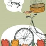 Spring garden, tulips and bike, design card — Stock Vector #42501973