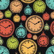 Vintage wall clocks and alarm clocks, seamless background — Cтоковый вектор