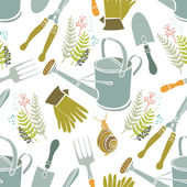 Spring background, gardening tools and snails — Stock Vector