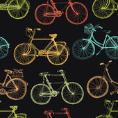 Vintage bicycle, colorful seamless background — Stock Vector